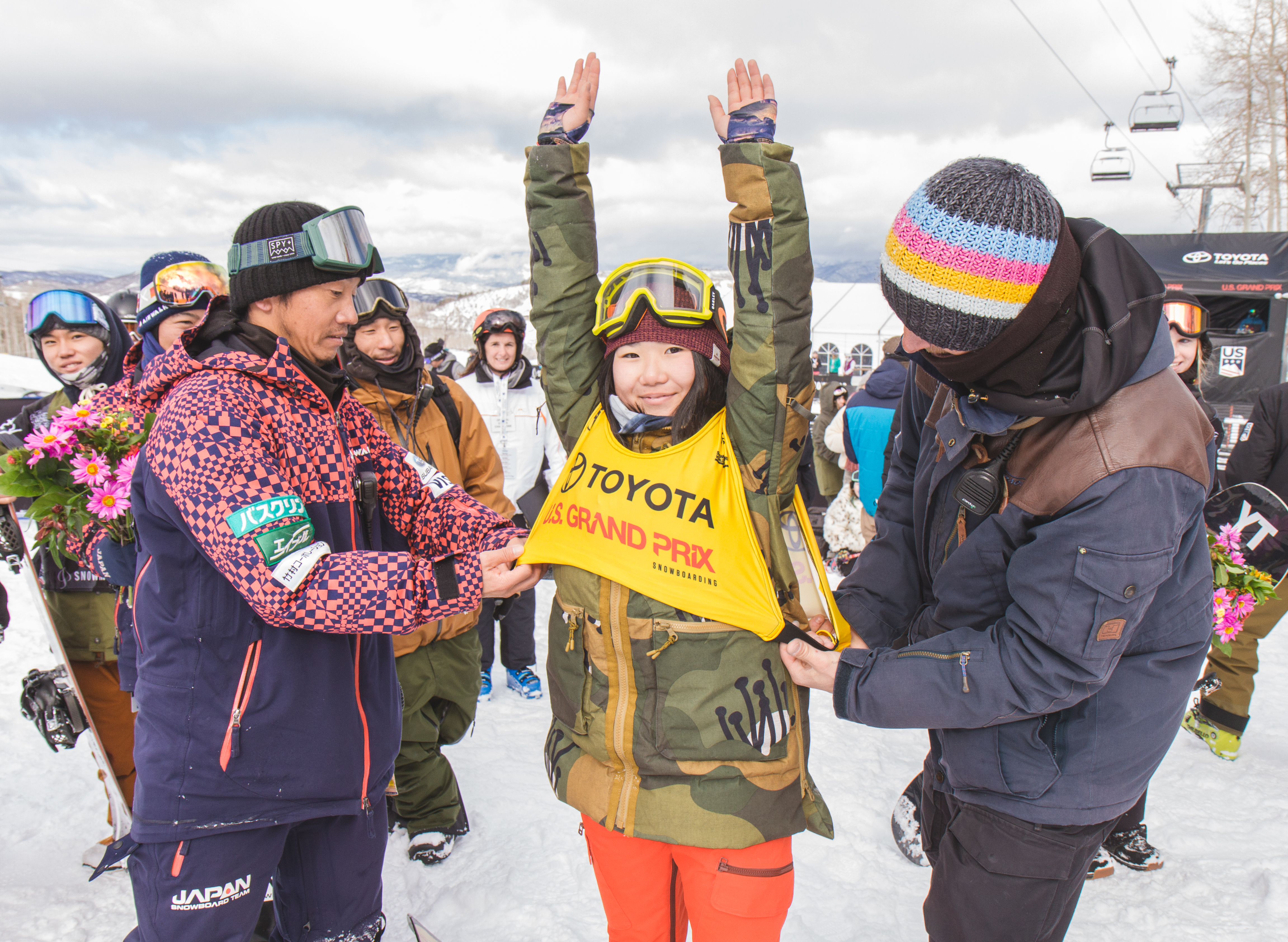 Leila Iwabuchi receiving the golden bib after her 2nd place at the US Grand Prix at Snowmass.