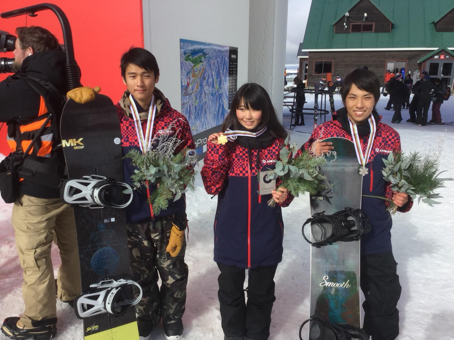 ㈯1位小野光希 選手2位平野流佳選手 3位平野海祝選手 表彰台に上がった3選手