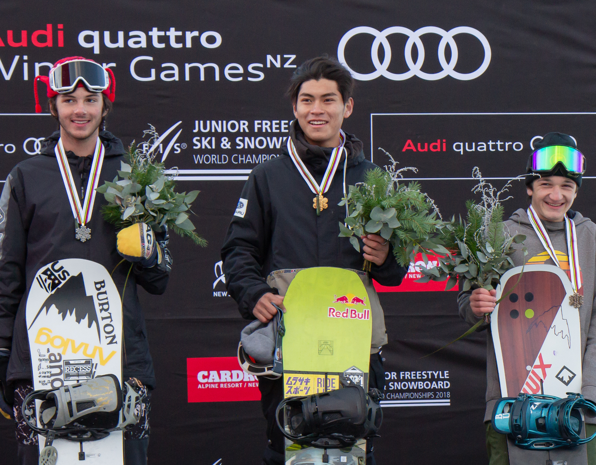 Takeru Otsuka on top of the podium at the Junior Wolrd Championships big air event at Cardrona.