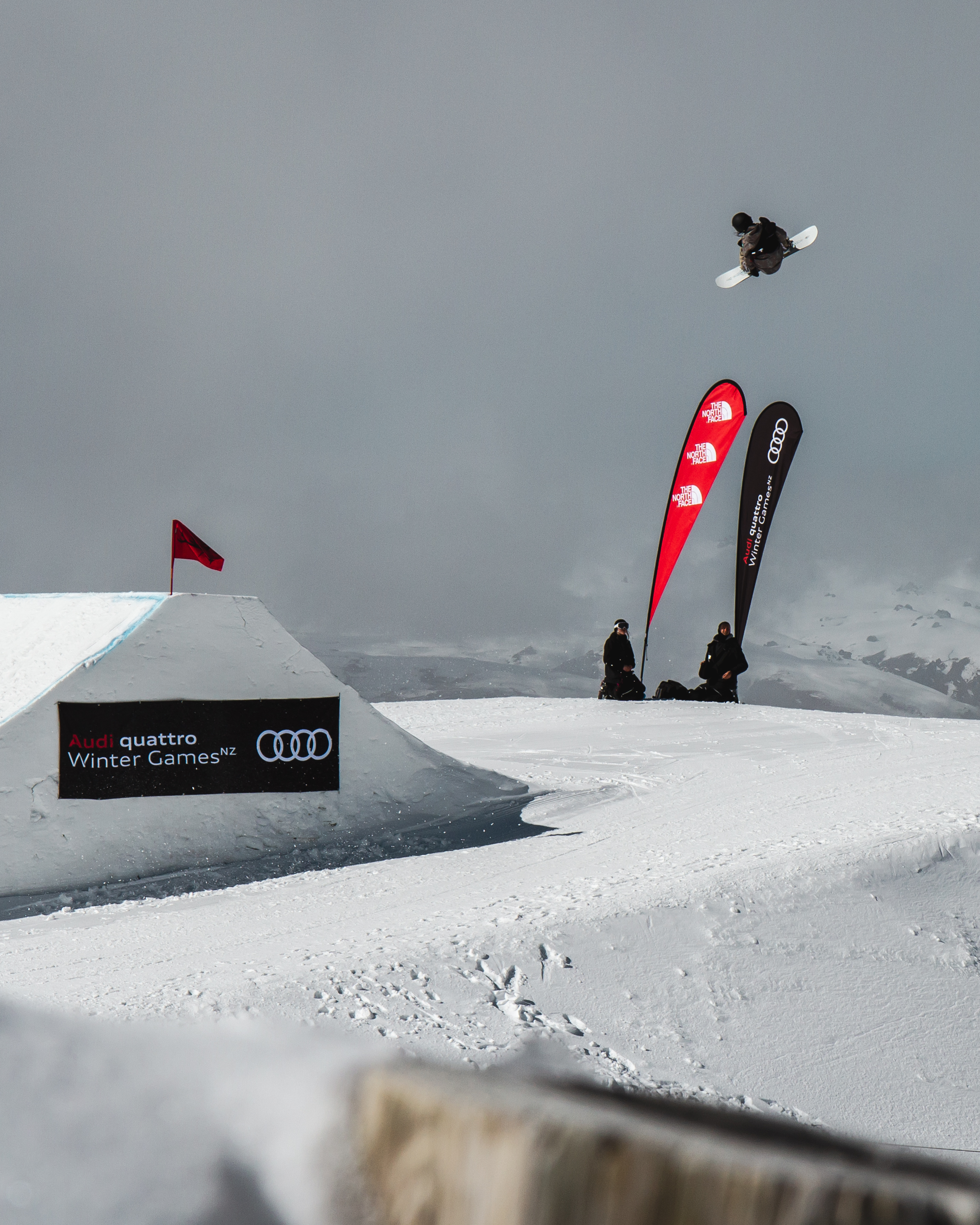 Kokomo Murase, frontside 1080 on the last hit to qualify 1st in World Cup Championships slopestyle at Cardrona.