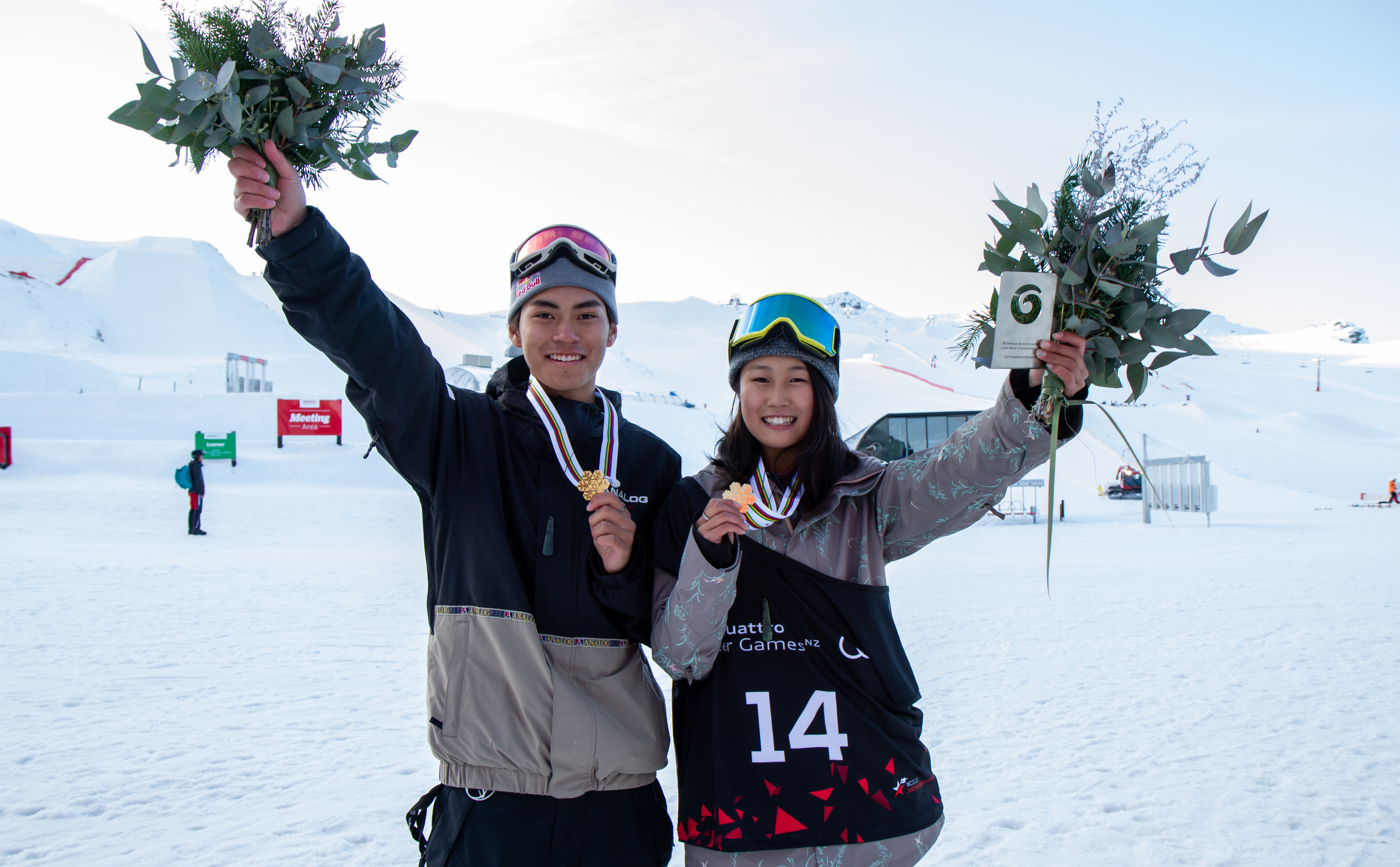 Takeru Otsuka and Kokomo Murase with matching gold medals at the Junior World Championships slopestyle at Cardrona.