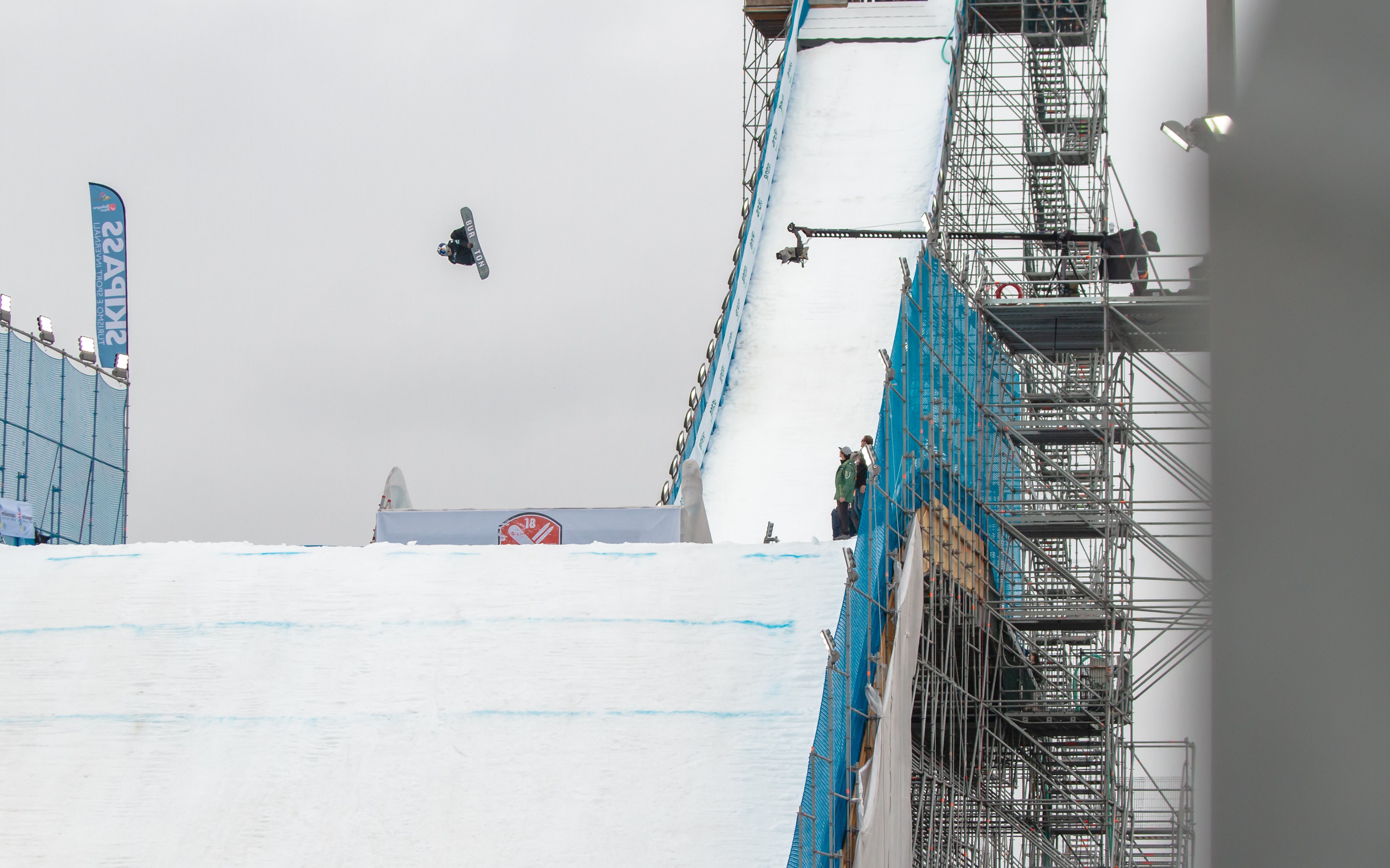 Takeru Otsuka getting himself primed to win the World Cup big air in Modena.