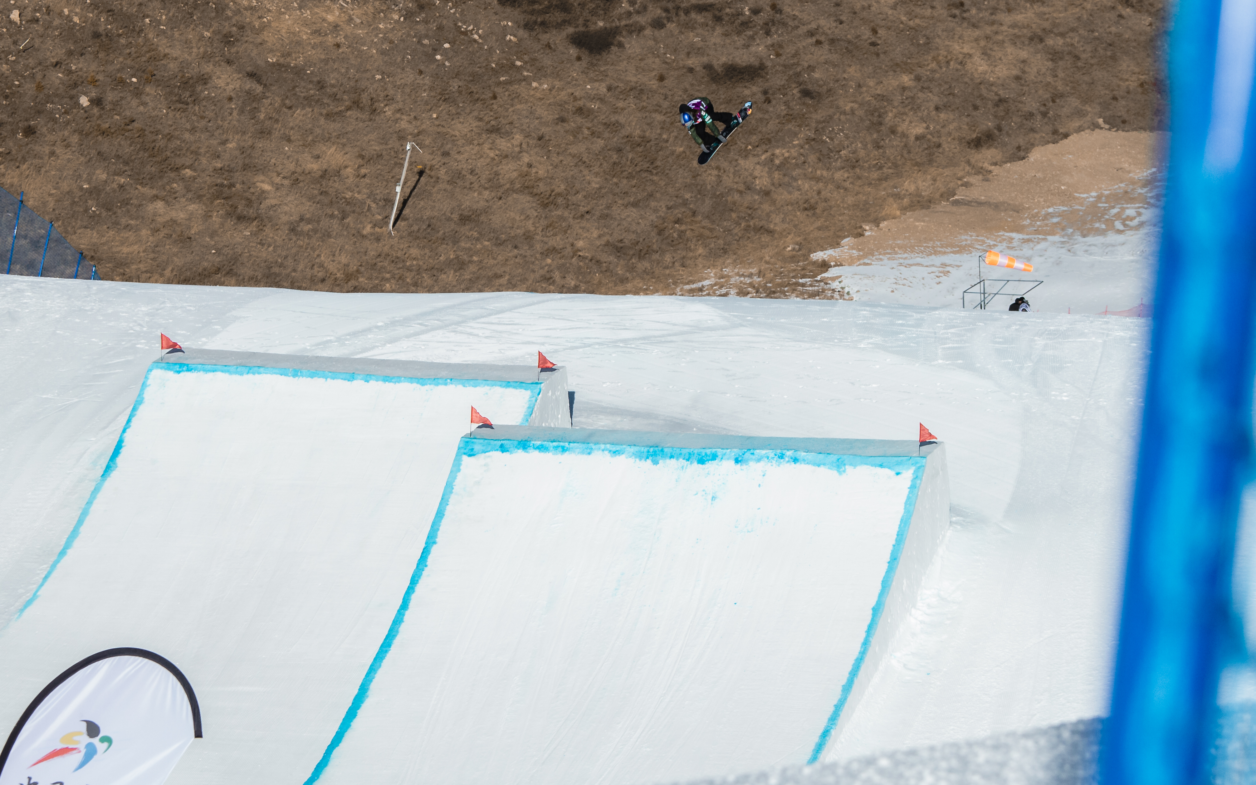 Miyabi Onitsuka cab-5 over the first kicker during the  FIS World Cup Secret Garden slopestyle event in China.