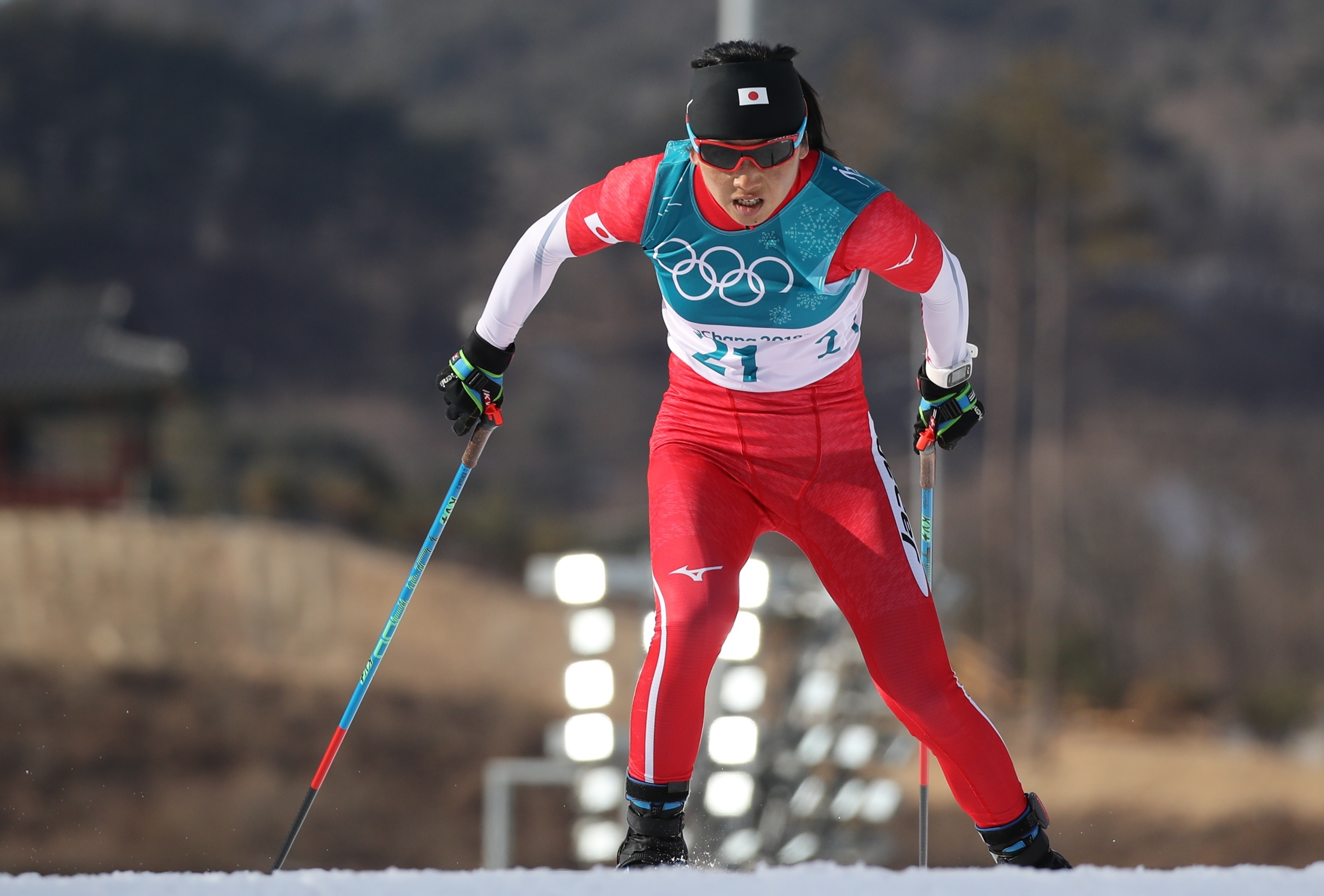 Cross-Country Skiing - Pyeongchang 2018 Winter Olympics - Women's 10km Free - Alpensia Cross-Country Skiing Centre - Pyeongchang, South Korea - February 15, 2018 -  Masako Ishida of Japan competes. REUTERS/Carlos Barria