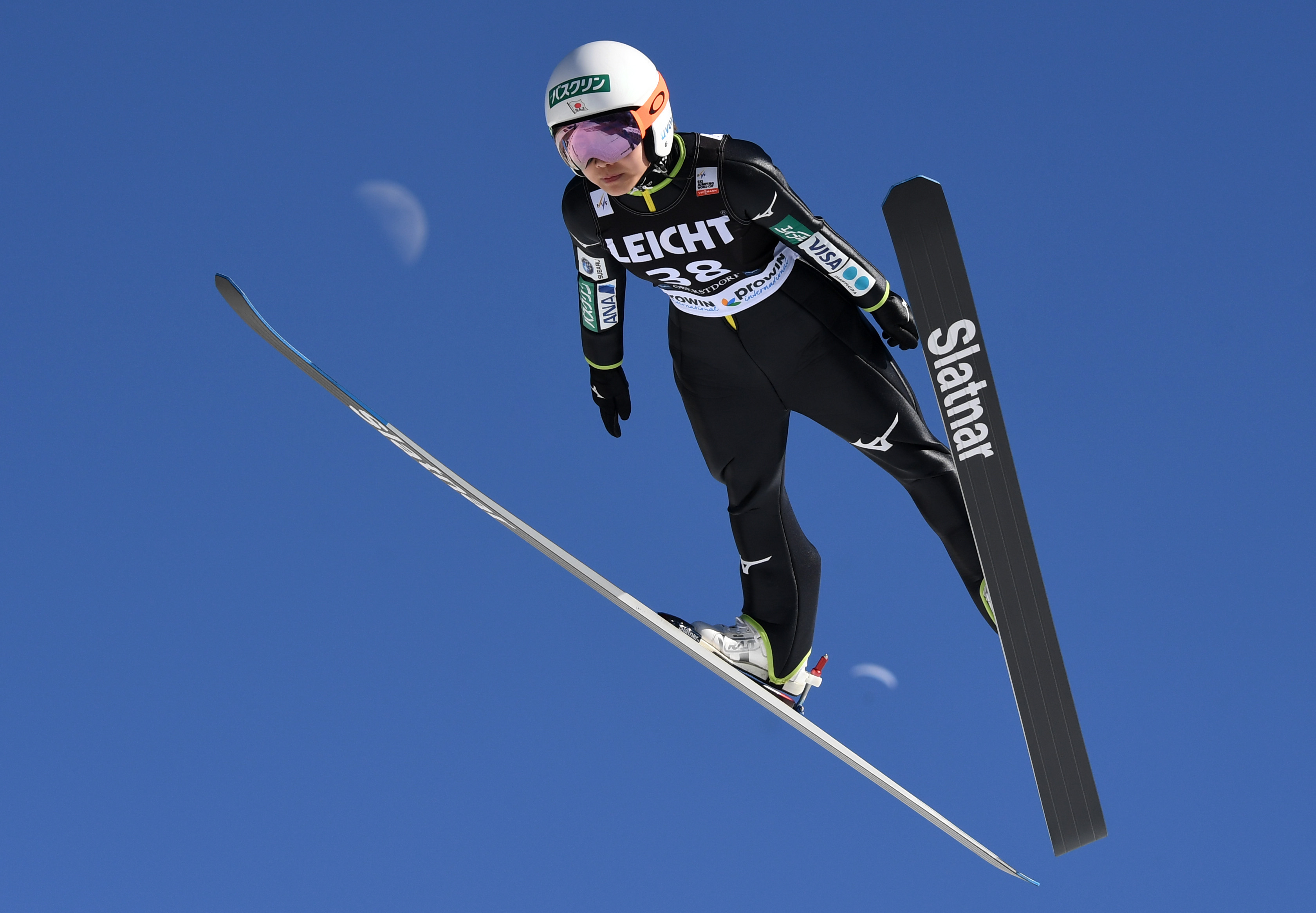 Sara Takanashi from Japan competes during her trial jump of the ski jumping World Cup Ladies competition in Oberstdorf, southern Germany, on March 24, 2018.  / AFP PHOTO / CHRISTOF STACHE